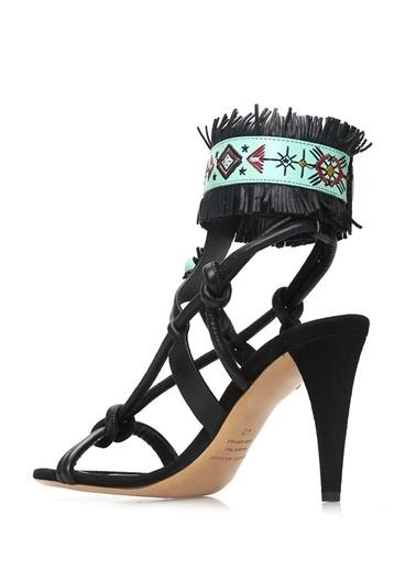 Etoile İsabel Marant İnce Topuklu %100 Süet Sandalet Siyah